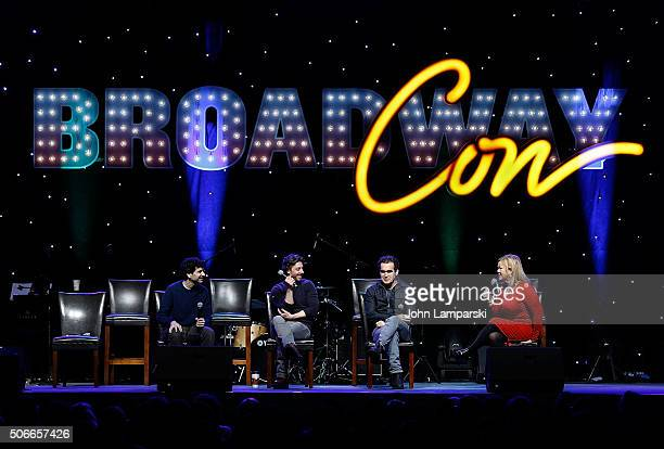 Actors John Cariani Christian Borle Brian d'Arcy James and comedienne Caroline Rhea attend BroadwayCon 2016 at the Hilton Midtown on January 24 2016...