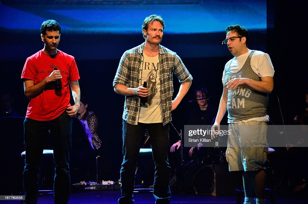 Actors John Cariani, Josh Lawson, and Steve Rosen poerform during the 24 Hour Musicals 2013 at the Gramercy Theatre on April 29, 2013 in New York City.