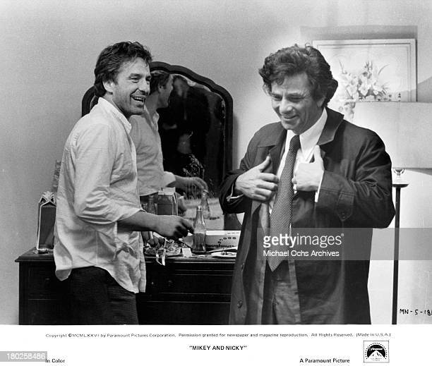 Actors John Cassavetes and Peter Falk on the set of the Paramount Pictures movie ' Mikey and Nicky' in 1976