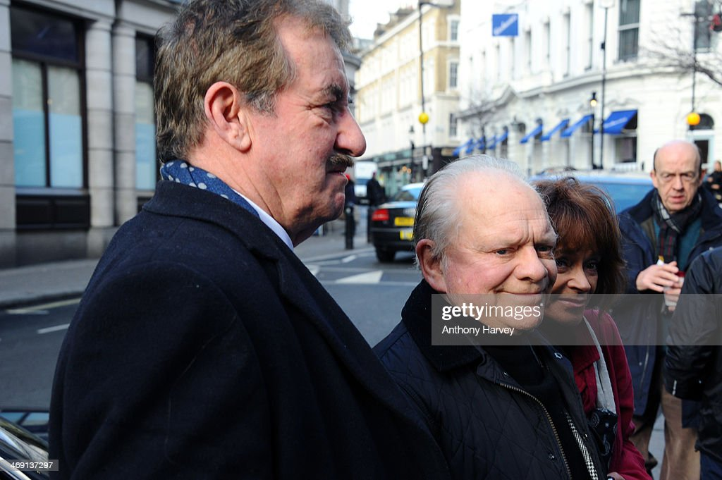 Actors John Challis, Sir <a gi-track='captionPersonalityLinkClicked' href=/galleries/search?phrase=David+Jason&family=editorial&specificpeople=228403 ng-click='$event.stopPropagation()'>David Jason</a> and Sue Holderness attend the funeral of actor Roger Lloyd-Pack at St Paul's Church on February 13, 2014 in London, England.