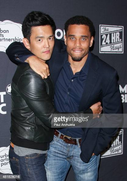 Actors John Cho and Michael Ealy attend the 24 Hour Plays In Los Angeles to benefit the Urban Arts Partnership at The Shore Hotel on June 20 2014 in...