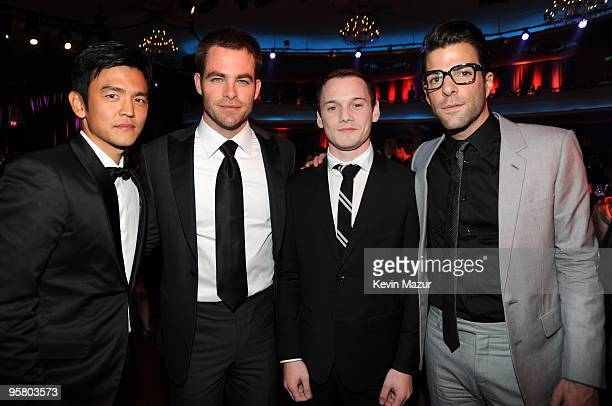 Actors John Cho Chris Pine Anton Yelchin and Zachary Quinto during the 15th annual Critics' Choice Movie Awards held at the Hollywood Palladium on...