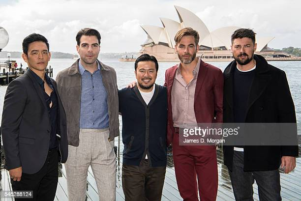 Actors John Cho Zachary Quinto Justin Lin Chris Pine and Karl Urban during a photo call for Star Trek Beyond on July 7 2016 in Sydney Australia