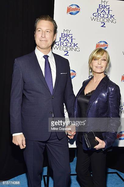 Actors John Corbett and Bo Derek arrive at the premiere of My Big Fat Greek Wedding 2 and walk the Windex blue carpet in New York City on March 15...