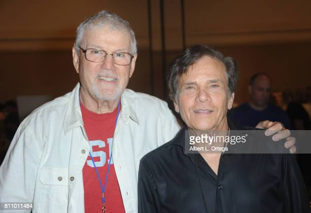 Actors John Davey and Michael Gray sign autographs at The Hollywood Show held at Westin LAX Hotel on July 8 2017 in Los Angeles California