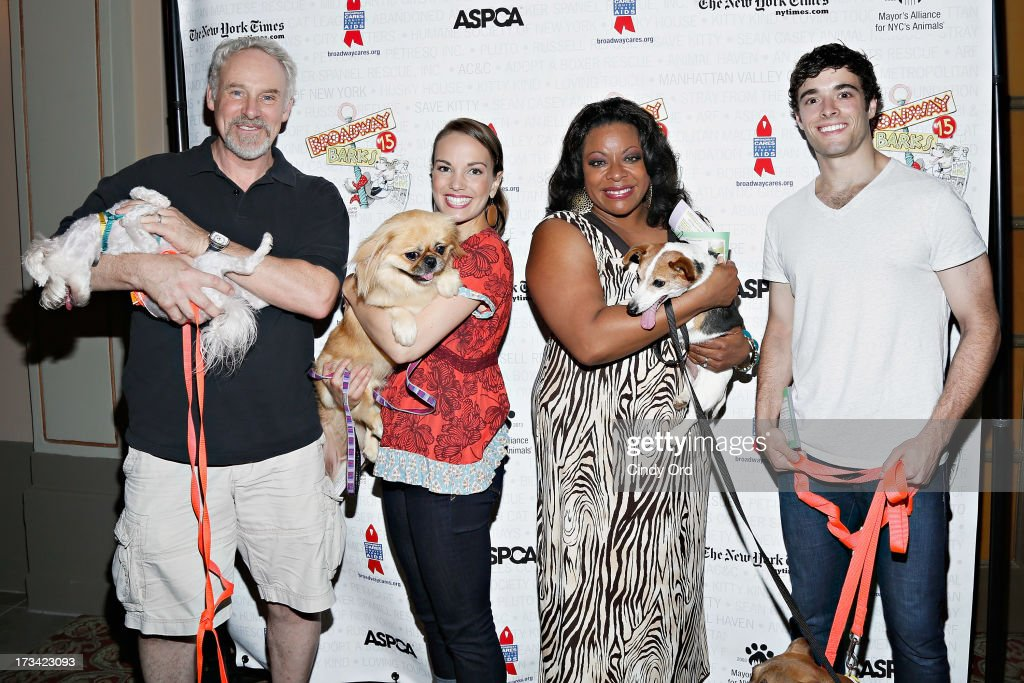 Actors John Dossett, Kara Lindsay, LaVon Fisher-Wilson and Corey Cott attend the Broadway Barks 15th Animal Adoption Event at Shubert Alley on July 13, 2013 in New York City.