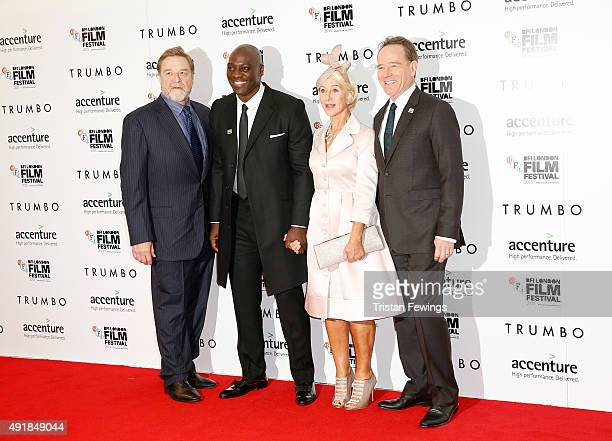 Actors John Goodman Adewale AkinnuoyeAgbaje Helen Mirren and Bryan Cranston attend the 'Trumbo' premiere during the BFI London Film Festival at the...