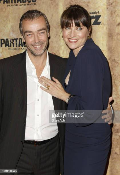 Actors John Hannah and Lucy Lawless attend the 'Spartacus Blood and Sand' New York premiere at the Tribeca Grand Screening Room on January 19 2010 in...