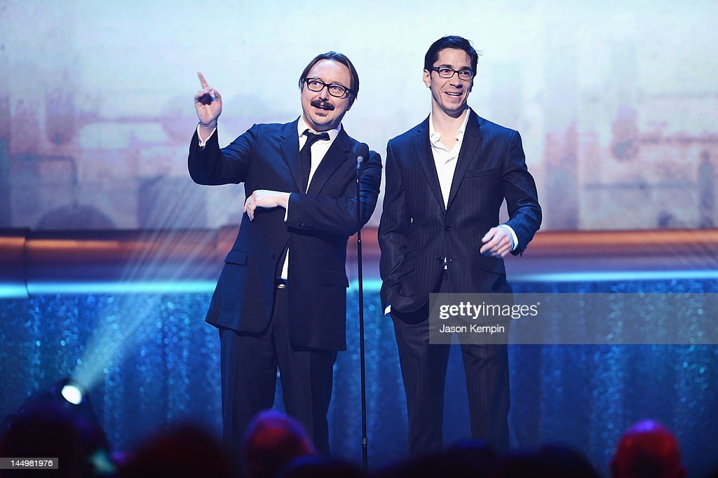 Actors John Hodgman and Justin Long onstage at the 16th Annual Webby Awards on May 21, 2012 in New York City.
