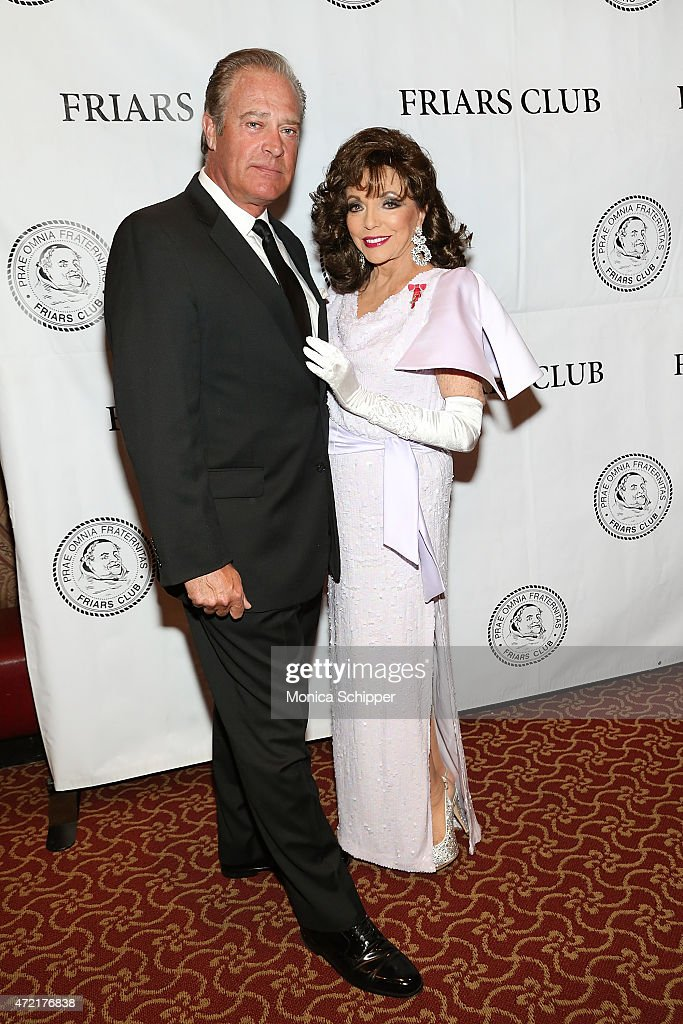 Actors John James (L) and Dame Joan Collins, DBE, attend the Friars Club Salute To Joan Collins at The Friars Club on May 4, 2015 in New York City.