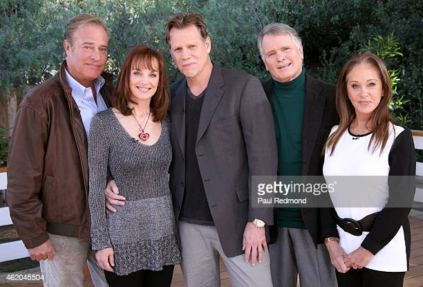 Actors John James Pamela Sue Martin Al Corley Gordon Thomson and Pamela Bellwood photographed on the set of 'Dynasty' Reunion on 'Home Family' at...