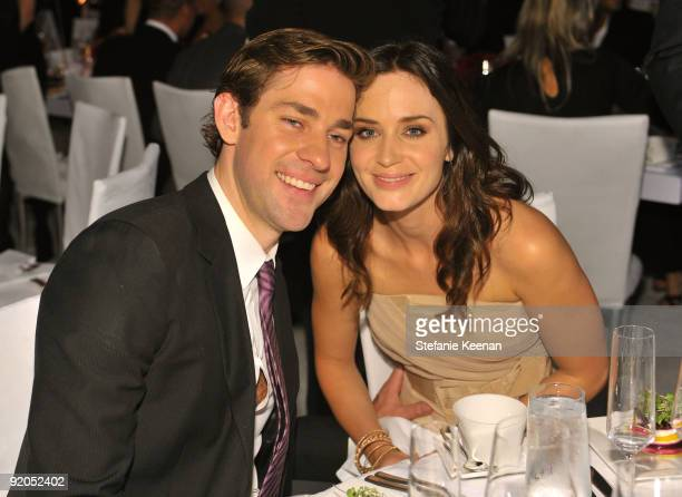 Actors John Krasinski and Emily Blunt attend the 16th Annual ELLE Women in Hollywood Tribute at the Four Seasons Hotel on October 19 2009 in Beverly...
