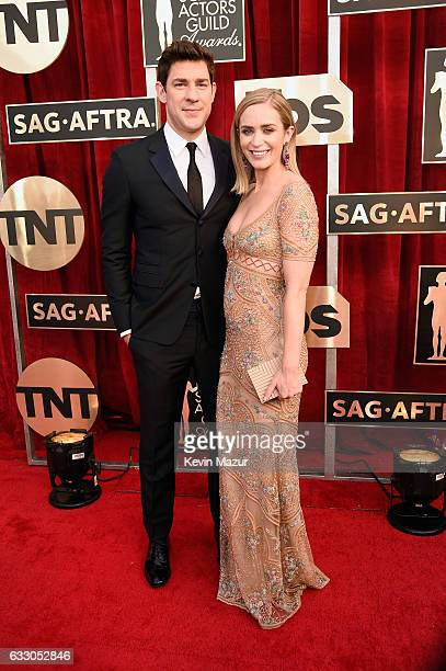 Actors John Krasinski and Emily Blunt attend The 23rd Annual Screen Actors Guild Awards at The Shrine Auditorium on January 29 2017 in Los Angeles...