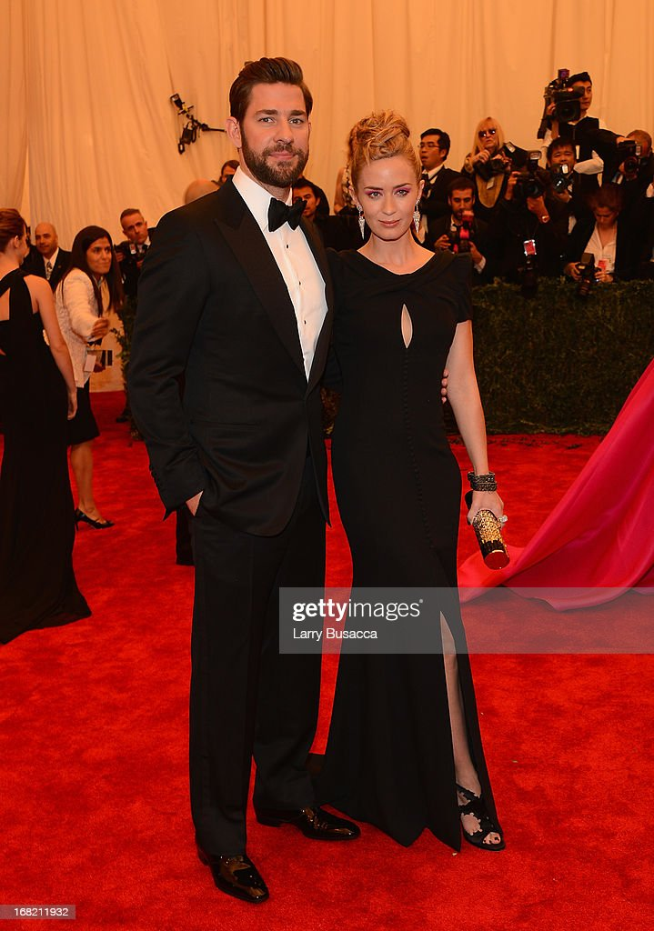 Actors John Krasinski (L) and Emily Blunt attend the Costume Institute Gala for the 'PUNK: Chaos to Couture' exhibition at the Metropolitan Museum of Art on May 6, 2013 in New York City.
