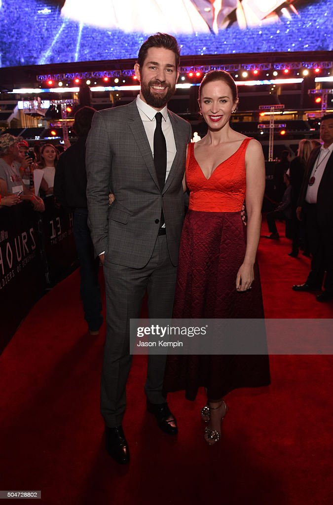 Actors <a gi-track='captionPersonalityLinkClicked' href=/galleries/search?phrase=John+Krasinski&family=editorial&specificpeople=646194 ng-click='$event.stopPropagation()'>John Krasinski</a> (L) and <a gi-track='captionPersonalityLinkClicked' href=/galleries/search?phrase=Emily+Blunt&family=editorial&specificpeople=213480 ng-click='$event.stopPropagation()'>Emily Blunt</a> attend the Dallas Premiere of the Paramount Pictures film '13 Hours: The Secret Soldiers of Benghazi' at the AT&T Dallas Cowboys Stadium on January 12, 2016 in Arlington, Texas.