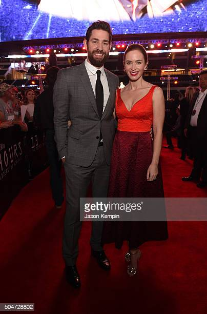 Actors John Krasinski and Emily Blunt attend the Dallas Premiere of the Paramount Pictures film '13 Hours The Secret Soldiers of Benghazi' at the ATT...