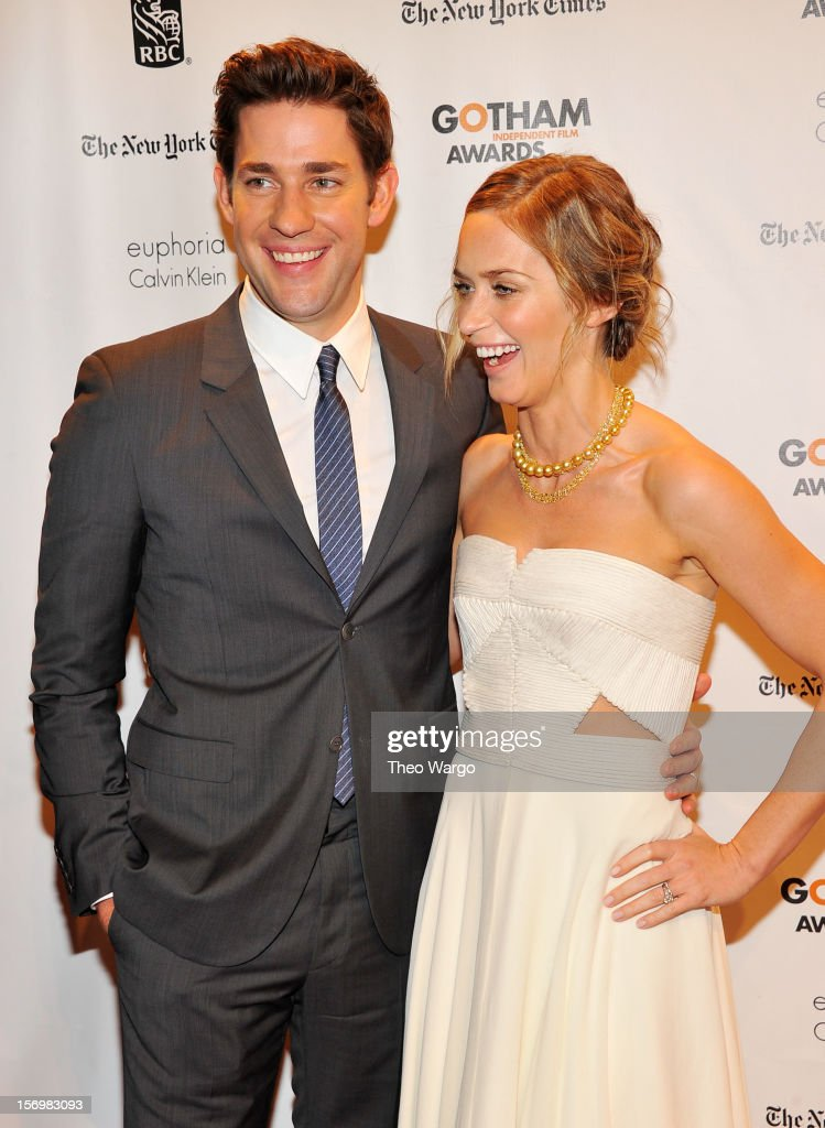 Actors <a gi-track='captionPersonalityLinkClicked' href=/galleries/search?phrase=John+Krasinski&family=editorial&specificpeople=646194 ng-click='$event.stopPropagation()'>John Krasinski</a> (L) and <a gi-track='captionPersonalityLinkClicked' href=/galleries/search?phrase=Emily+Blunt&family=editorial&specificpeople=213480 ng-click='$event.stopPropagation()'>Emily Blunt</a> attend the IFP's 22nd Annual Gotham Independent Film Awards at Cipriani Wall Street on November 26, 2012 in New York City.