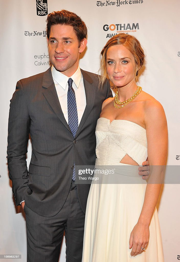 Actors John Krasinski (L) and Emily Blunt attend the IFP's 22nd Annual Gotham Independent Film Awards at Cipriani Wall Street on November 26, 2012 in New York City.