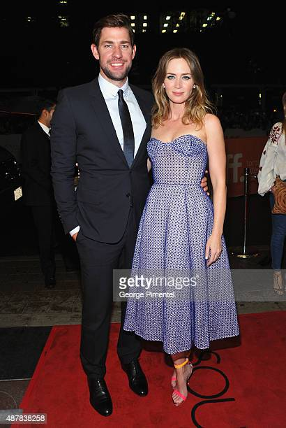 Actors John Krasinski and Emily Blunt attend the 'Sicario' premiere during the 2015 Toronto International Film Festival at Princess of Wales Theatre...