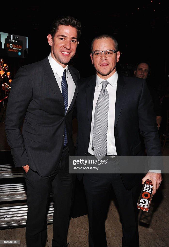 Actors John Krasinski (L) and Matt Damon attend the 22nd Annual Gotham Independent Film Awards at Cipriani Wall Street on November 26, 2012 in New York City.