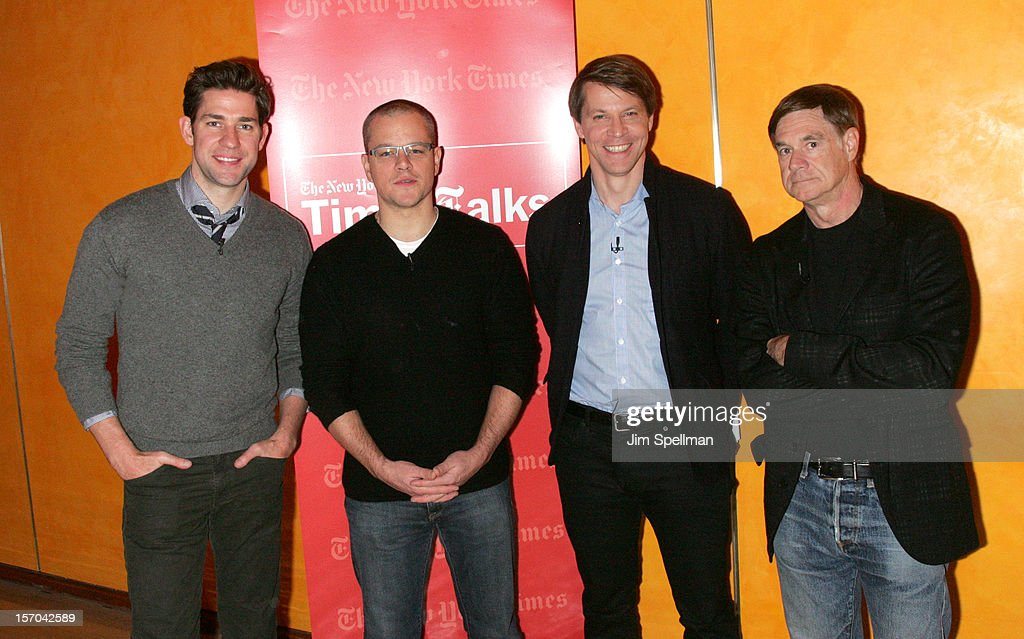Actors John Krasinski, Matt Damon, writer Hugo Lindgren and director Gus Van Sant attend TimesTalk Presents An Evening With Marion Cotillard, Matt Damon & Gus Van Sant at TheTimesCenter on November 27, 2012 in New York City.