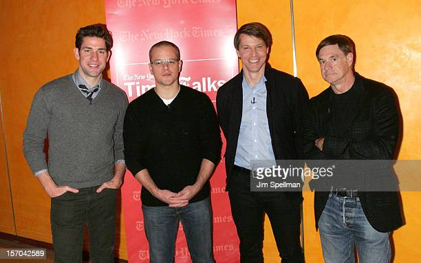 Actors John Krasinski Matt Damon writer Hugo Lindgren and director Gus Van Sant attend TimesTalk Presents An Evening With Marion Cotillard Matt Damon...