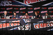 Actors John Larroquette Christian Kane John Kim Lindy Booth and Dean Devlin speak at The Librarian S2 First Look panel at the Jacob Javits Center on...