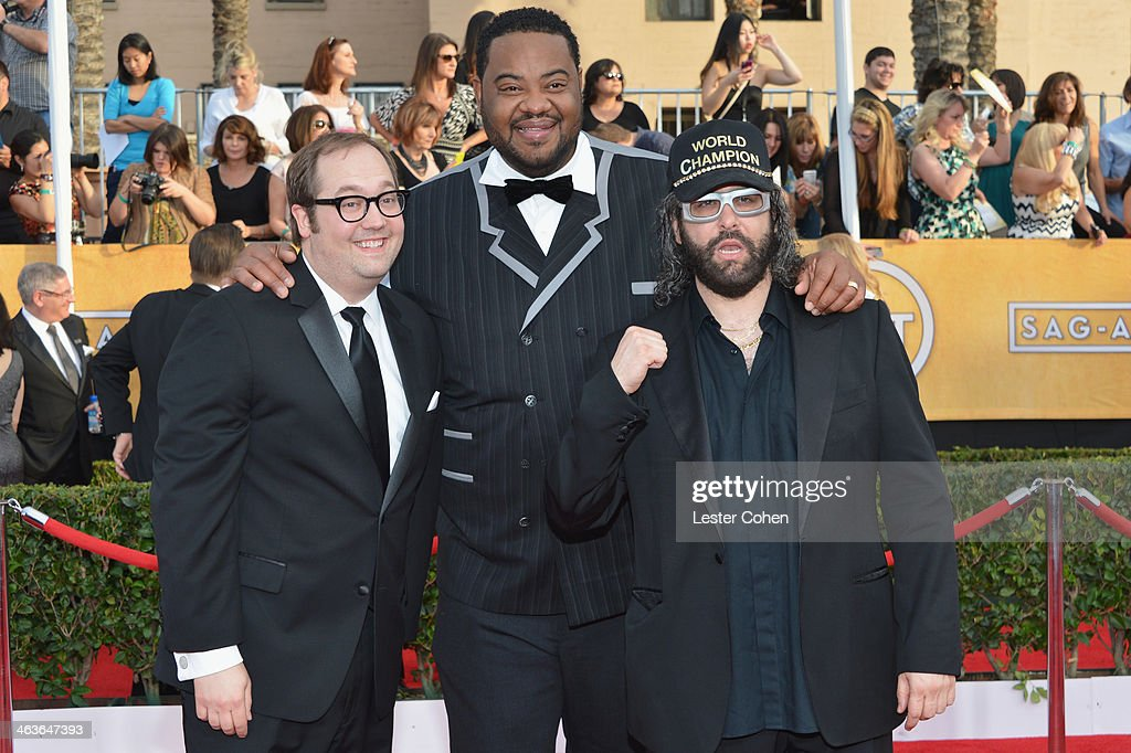Actors John Lutz Grizz Chapman and Judah Friedlander attend the 20th Annual Screen Actors Guild Awards at The Shrine Auditorium on January 18 2014 in...