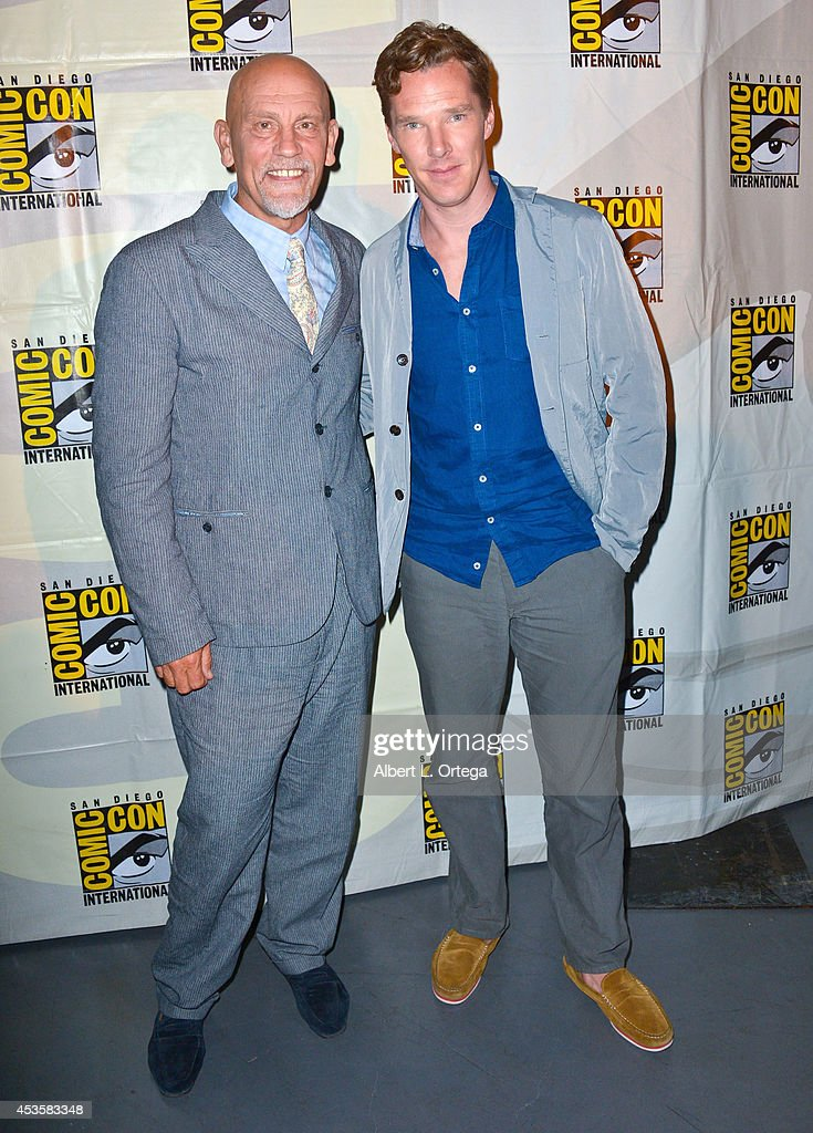 Actors John Malkovich and Benedict Cumberbatch at DreamWorks Animation Presentation of 'The Penguins of Madagascar' - Comic-Con International 2014 held at the San Diego Convention Center on July 24, 2014 in San Diego, California.
