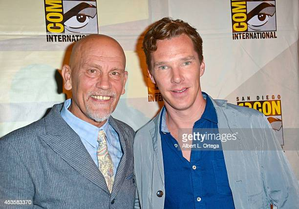 Actors John Malkovich and Benedict Cumberbatch at DreamWorks Animation Presentation of 'The Penguins of Madagascar' ComicCon International 2014 held...
