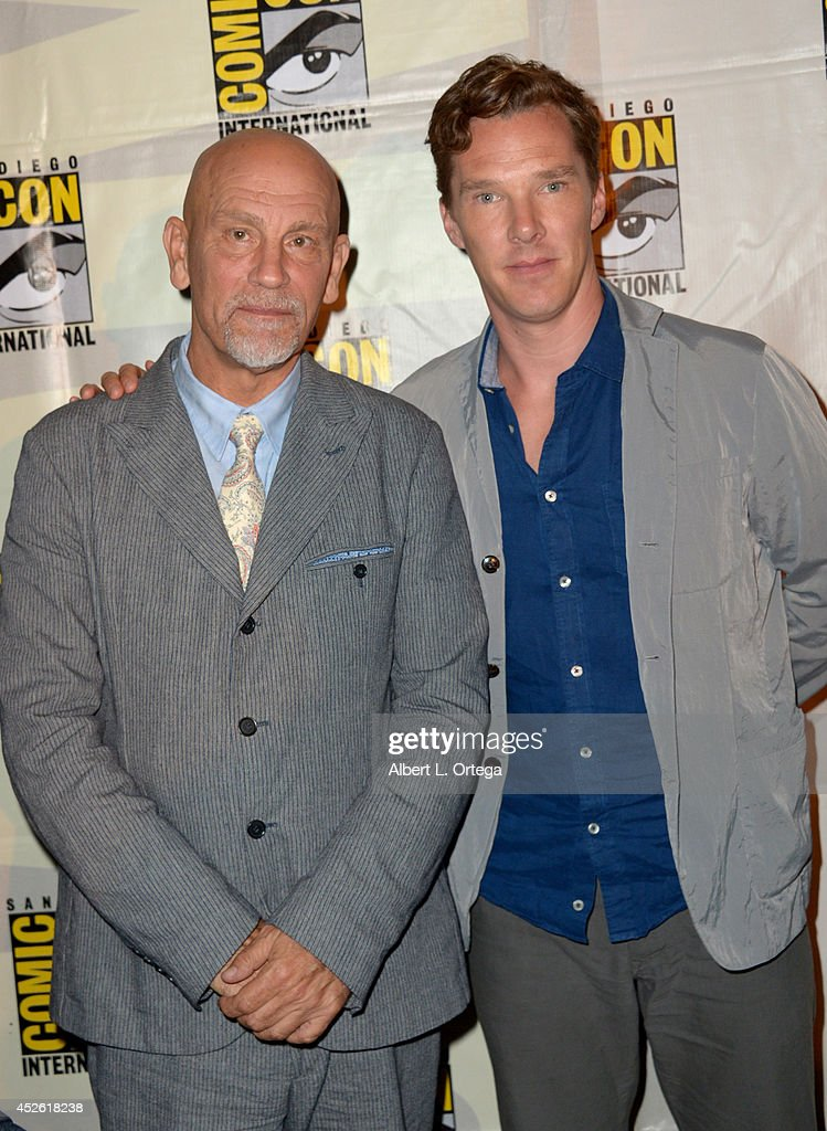 Actors <a gi-track='captionPersonalityLinkClicked' href=/galleries/search?phrase=John+Malkovich&family=editorial&specificpeople=208819 ng-click='$event.stopPropagation()'>John Malkovich</a> (L) and <a gi-track='captionPersonalityLinkClicked' href=/galleries/search?phrase=Benedict+Cumberbatch&family=editorial&specificpeople=2487879 ng-click='$event.stopPropagation()'>Benedict Cumberbatch</a> attend the DreamWorks Animation presentation during Comic-Con International 2014 at the San Diego Convention Center on July 24, 2014 in San Diego, California.