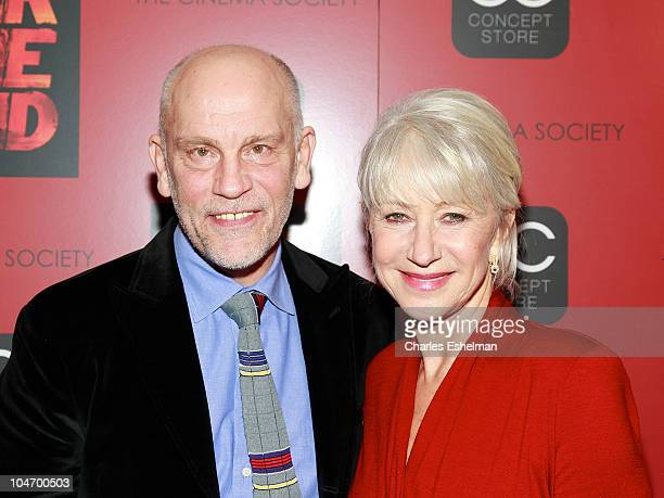 Actors John Malkovich and Helen Mirren attend the Cinema Society OC Concept's screening of 'Red' at The Museum of Modern Art on October 3 2010 in New...