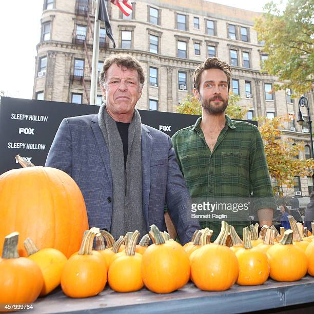 Actors John Noble and Tom Mison visit FOX's Sleepy Holloween Pumpkin Patch at Saint Marks Church GreenMarket on October 28 2014 in New York City