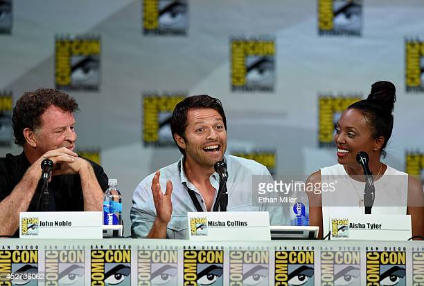 Actors John Noble Misha Collins and Aisha Tyler attend the TV Guide Magazine Fan Favorites panel during ComicCon International 2014 at the San Diego...