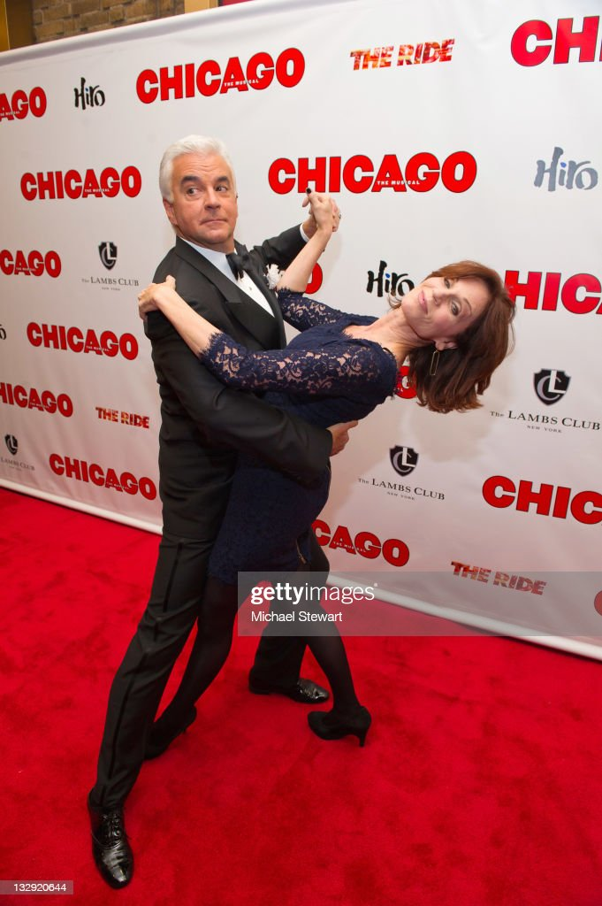Actors John O'Hurley and Marilu Henner attend the 'Chicago' 15th Anniversary celebration performance at the Ambassador Theatre on November 14 2011 in...