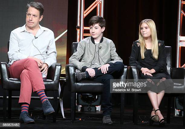 Actors John Ross Bowie Mason Cook and Kyla Kenedy speak onstage at the 'Speechless' panel discussion during the Disney ABC Television Group portion...