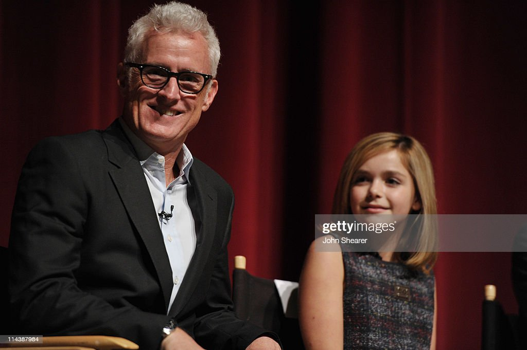 Actors <a gi-track='captionPersonalityLinkClicked' href=/galleries/search?phrase=John+Slattery&family=editorial&specificpeople=857095 ng-click='$event.stopPropagation()'>John Slattery</a> and <a gi-track='captionPersonalityLinkClicked' href=/galleries/search?phrase=Kiernan+Shipka&family=editorial&specificpeople=5535048 ng-click='$event.stopPropagation()'>Kiernan Shipka</a> on stage at the 'Mad Men' ATAS Screening at Leonard Goldenson Theatre on May 18, 2011 in North Hollywood, California.