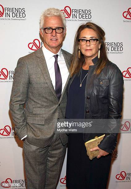 Actors John Slattery and Talia Balsam attend the Dinner And Auction Benefiting Friends In Deed at Stephan Weiss Studio on October 6 2014 in New York...
