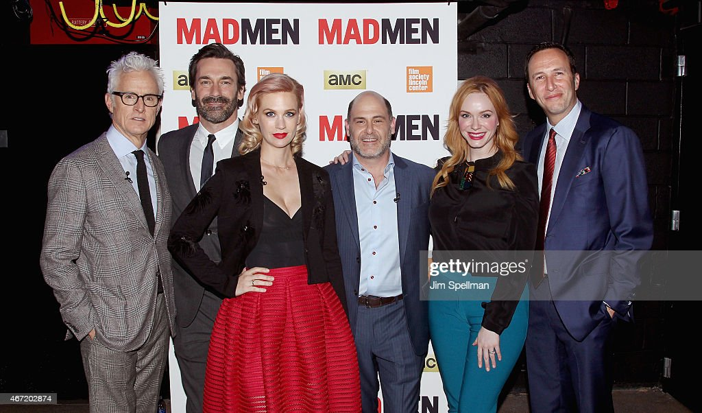 Actors John Slattery, Jon Hamm, January Jones, writer/director/ producer Matthew Weiner, Christina Hendricks and AMC president and general manager Charlie Collier attend the 'Mad Men' special screening at The Film Society of Lincoln Center on March 21, 2015 in New York City.