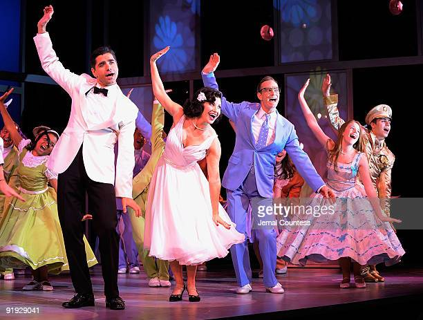 Actors John Stamos Gina Gershon Bill Irwin Allie Trimm and Nolan Gerard Funk take a bow during the opening night of 'Bye Bye Birdie' on Broadway at...