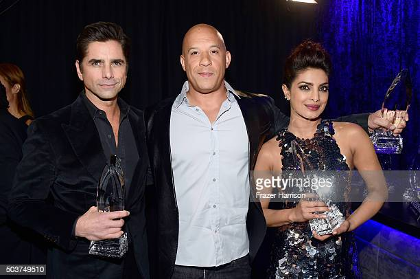 Actors John Stamos Vin Diesel winner of the award for Favorite Movie and Priyanka Chopra attend the People's Choice Awards 2016 at Microsoft Theater...