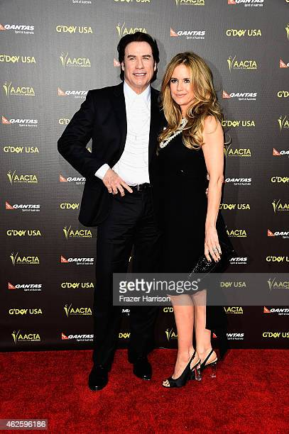 Actors John Tavolta and Kelly Preston arrive at the 2015 G'Day USA Gala Featuring The AACTA International Awards Presented By QANTAS at the Hollywood...