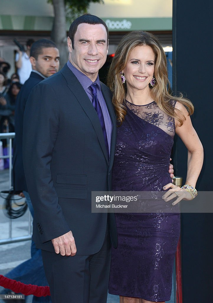 Actors <a gi-track='captionPersonalityLinkClicked' href=/galleries/search?phrase=John+Travolta&family=editorial&specificpeople=178204 ng-click='$event.stopPropagation()'>John Travolta</a> and <a gi-track='captionPersonalityLinkClicked' href=/galleries/search?phrase=Kelly+Preston&family=editorial&specificpeople=159434 ng-click='$event.stopPropagation()'>Kelly Preston</a> arrive at Premiere of Universal Pictures' 'Savages' at Westwood Village on June 25, 2012 in Los Angeles, California.