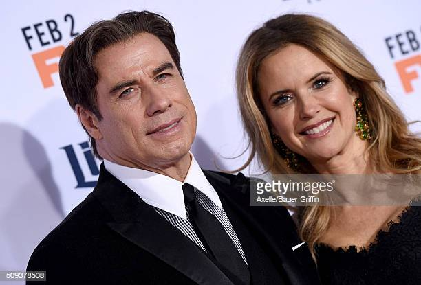 Actors John Travolta and Kelly Preston arrive at the premiere of 'FX's 'American Crime Story The People V OJ Simpson' at Westwood Village Theatre on...