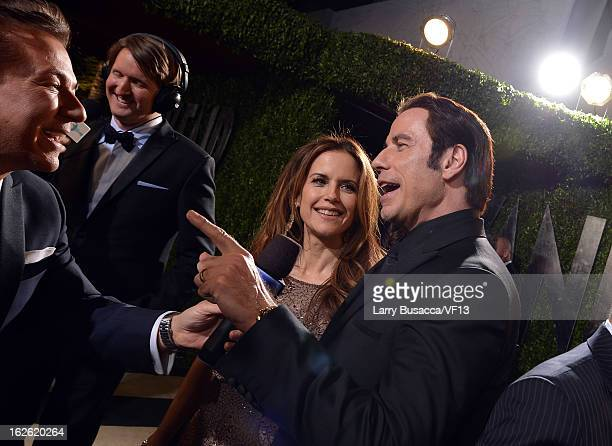 Actors John Travolta and Kelly Preston arrive for the 2013 Vanity Fair Oscar Party hosted by Graydon Carter at Sunset Tower on February 24 2013 in...
