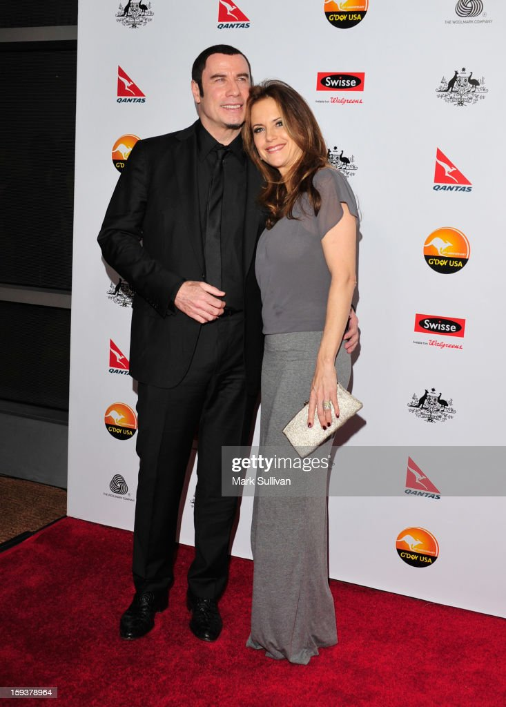 Actors <a gi-track='captionPersonalityLinkClicked' href=/galleries/search?phrase=John+Travolta&family=editorial&specificpeople=178204 ng-click='$event.stopPropagation()'>John Travolta</a> and <a gi-track='captionPersonalityLinkClicked' href=/galleries/search?phrase=Kelly+Preston&family=editorial&specificpeople=159434 ng-click='$event.stopPropagation()'>Kelly Preston</a> arrive for the G'Day USA Black Tie Gala held at at the JW Marriot at LA Live on January 12, 2013 in Los Angeles, California.