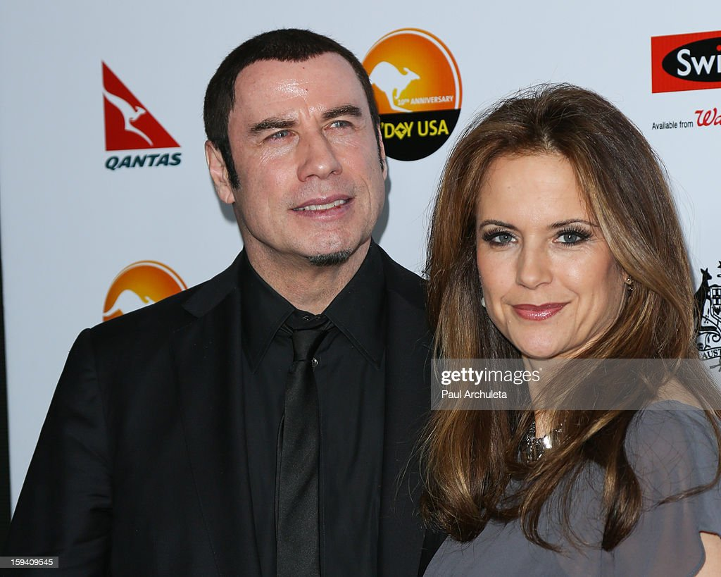 Actors John Travolta (L) and Kelly Preston (R) attend the 2013 G'Day USA Los Angeles Black Tie Gala at JW Marriott Los Angeles at L.A. LIVE on January 12, 2013 in Los Angeles, California.