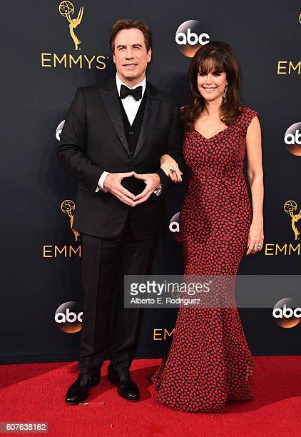 Actors John Travolta and Kelly Preston attend the 68th Annual Primetime Emmy Awards at Microsoft Theater on September 18 2016 in Los Angeles...