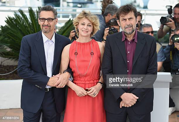 Actors John Turturro Margherita Buy and director Nanni Moretti attend the 'Mia Madre' Photocall during the 68th annual Cannes Film Festival on May 16...