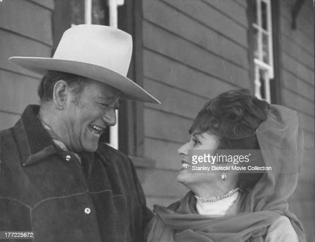 Actors John Wayne and Maureen O'Hara in a scene from the movie 'Big Jake' 1971